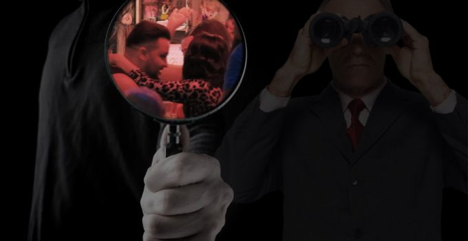 Cheating husband in Thailand, magnifying glass on cheating husband